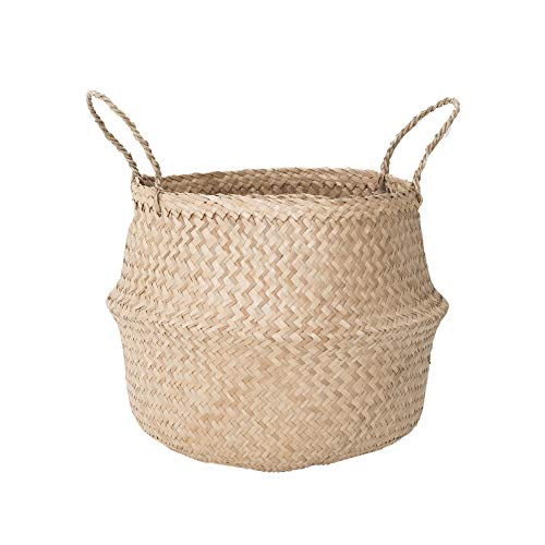 Sona Home Seagrass Basket | 4 Sizes, 2 Styles | Belly Basket, Blanket Holder, Toy Basket, Plant Basket | Decorative Storage Basket for Living & Laundry Room, Bathroom & Bedroom  ()