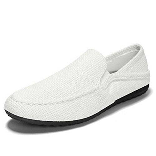 Zapatillas Zapatos Ocasional Zapatos Al ConduccióN Verano Transpirable De Hombre Perezosas Blanco Resistentes Desgaste Plano Ligeros wS0xSA7q