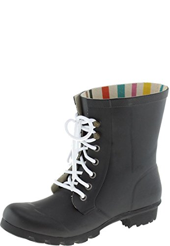 Evercreatures Ladies Beret Lace Up Festival Wellies in Various Sizes and Colors Black