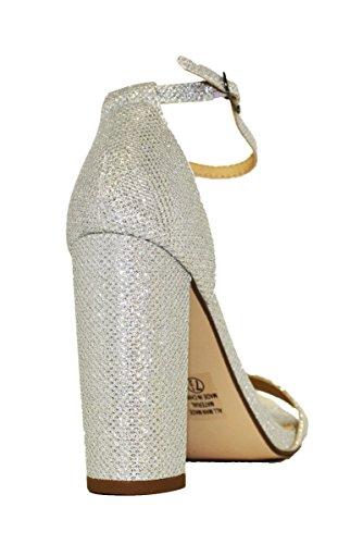 Delicious Womens Evening High Heels Open Toe Ankle Strap Platform Casual Stiletto Pumps Silver Git igl35v4E