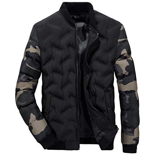 FRCOLT Men's Autumn Winter Warm Camouflage Sleeve Packwork Thermal Zipper Coat No Hood (M, Black) (Chart Autumn)