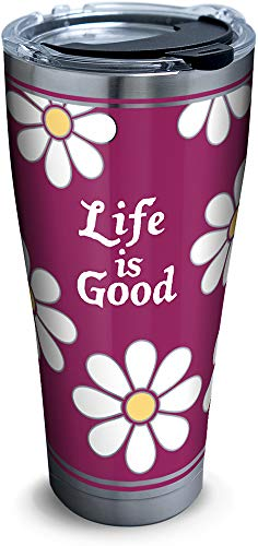 Tervis 1302581 Life is Good - All Over Daisy Stainless Steel Insulated Tumbler with Clear and Black Hammer Lid 30oz Silver (Life Stainless Steel)