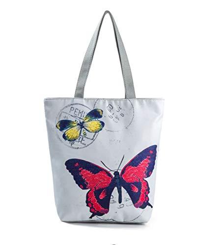 Zdan.uu Nuovo stile etnico Fiore modello donne tessuto riutilizzabile Shopping Bag pieghevole (C)
