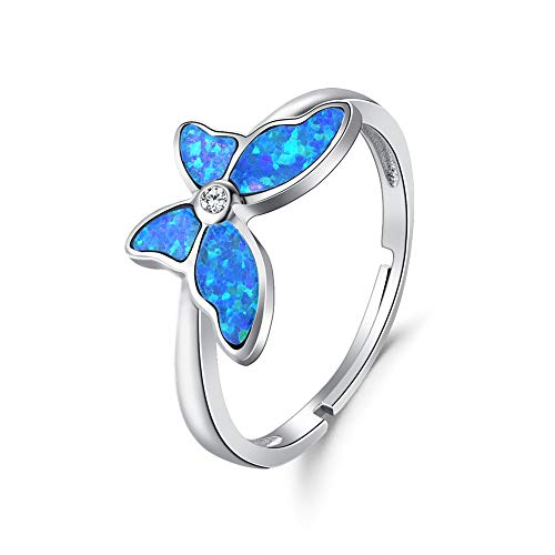 FANCIME Created Opal Butterfly Open Circle Rings 925 Sterling Silver Charming Dainty Cubic Zirconia CZ Fine Jewelry for Women Girls Size Adjustable 5,6,7,8,9