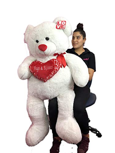 (Kelly Toy Life Size White Teddy with Red Heart Bear Over 52