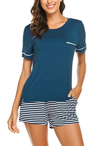 (Ekouaer Women's Shorts Pajama Set Short Sleeve Sleepwear Nightwear Pjs Peacock Blue S)