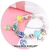 Rankei Antique Love Heart Charm Bracelet For Women With Glass DIY Beads Fine Bracelets,I swear,19cm