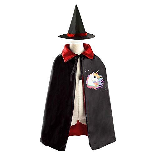 69PF-1 Halloween Cape Matching Witch Hat Rainbow Unicorn Head Wizard Cloak Masquerade Cosplay Custume Robe Kids/Boy/Girl Gift Red -