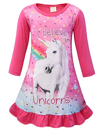 Cotrio Unicorn Sleepwear Pajamas Dress Toddler Star Rainbow Nightgown Girls Long Sleeves Princess Sleep Night Dresses Kids Nightie (7-8Years, Pink)