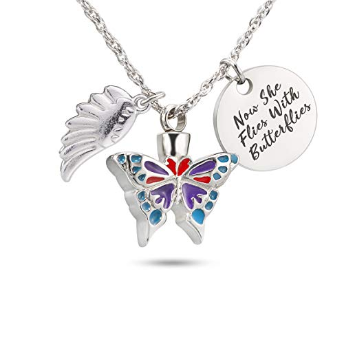 Now She Flies with Butterfly Urn Necklace for Ashes Cremation Jewelry Cremation Necklace Jewelry for Ashes Butterflies Are Free Necklace