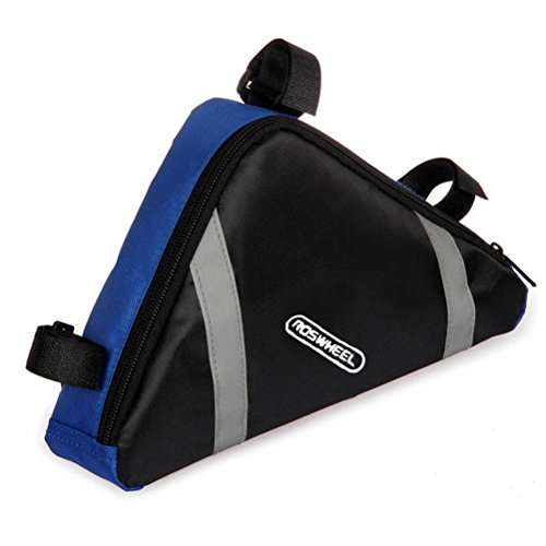 - VORCOOL ROSWHEEL Portable Triangle Shaped Bicycle Bike Front Frame Pipe Bag PVC Saddle Bag Tools Bag Pouch (Blue)