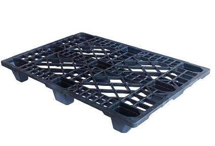 5 paletas ligeras de 1200 x 800 mm de HDPE-RE de plástico antracita/negro.