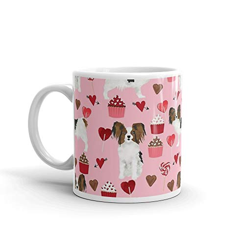 - Papillon valentines day dog pattern cute gifts for dog lover unique dog breeds accessories by PetFriendly 11 Oz White Ceramic