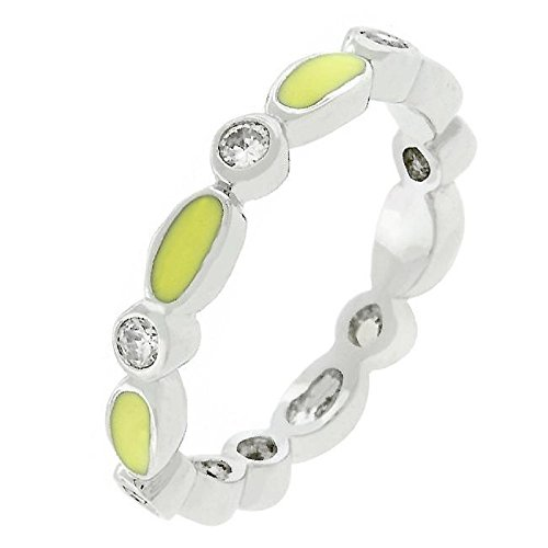 - WildKlass Yellow Link Enamel Stacker Ring