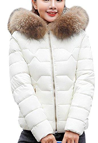 Court Veston Blanc Blanc la Chaud avec Femme Hiver Vest Manteau Fourrure Magike Fille Doudoune Noir qawfR0