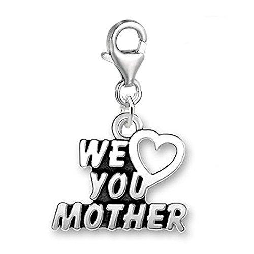 Sexy paillettes Femme We Love You Mère Clip sur pendentif breloque pour bracelet bijoux W/homard fermoir