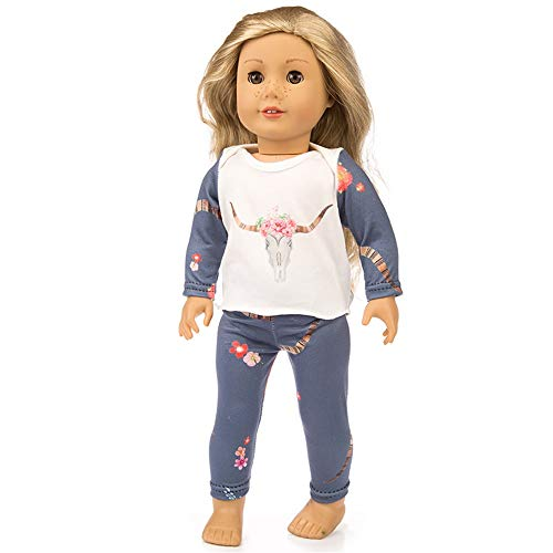 Fiaya New Cute Animals Print Sleepwear Pajamas Nightgown 2PCs Set Tops+Pants for 18 inch American Girl Doll (A)