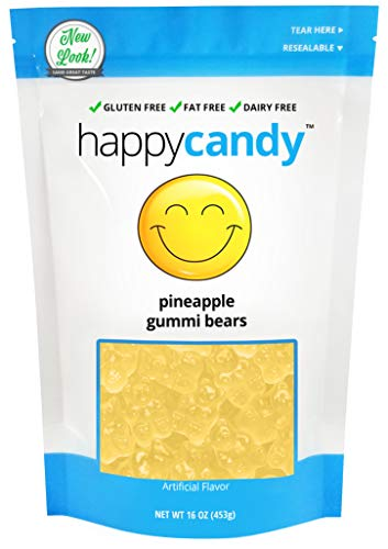 Happy Candy Pineapple Gummi Bears - Gluten Free, Fat Free, Dairy Free - Resealable Pouch (1 Pound) ()