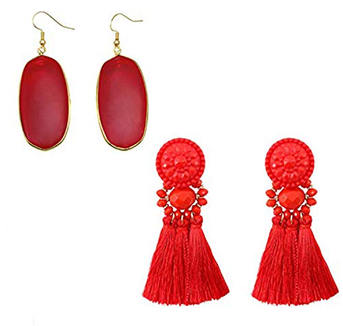 FIBO STEEL Chandelier Tassel Earrings Crystal Drop Earring Set for Women Girls Statement Dangling Earring Red ()