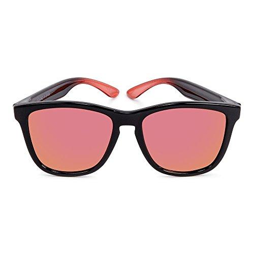 sol rojas negras espejo mate polarizadas SALINA Gafas Acabado y revo Sunglasses de CORAL lentes brillo wSIvqn