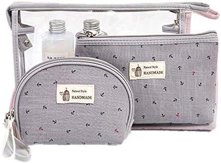化粧品袋 さんの美しさのケース女の子3人の女性のためのパターン化化粧品袋化粧品袋ジッパーの気質のオーガナイザー収納袋 旅行化粧収納ボックス (Color : Gray)