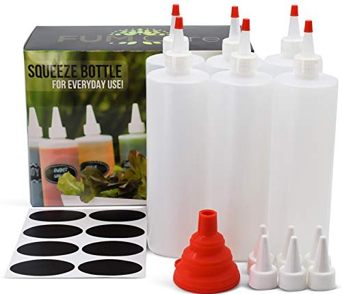 (Squeeze Bottle 16 oz - Set of 6 - Red Caps, Silicone Funnel, Chalk Labels, 6 Extra White Caps, E-book Leakproof, BPA Free & Refillable Squirt Plastic Bottles For Condiments, Mustard, Ketchup)