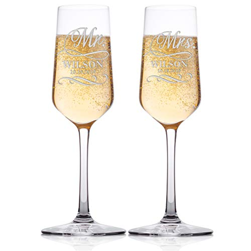 Set of 2 - Personalized Wedding Champagne Flute Glasses, Customized Wedding Champagne Glasses for Bride and Groom, Mr & Mrs Last Name and Date With Swirl, Celebration Champaign Flute Set - C6 -