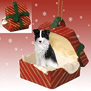 BORDER COLLIE Dog in a Red Gift Box Christmas Ornament New RGBD62 4