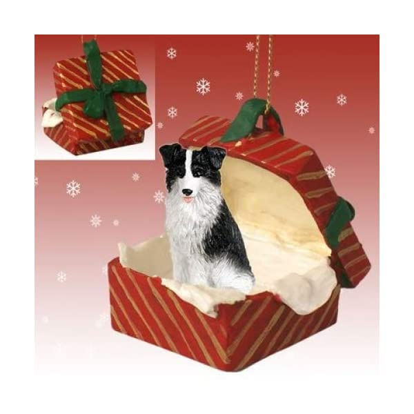 BORDER COLLIE Dog in a Red Gift Box Christmas Ornament New RGBD62 1