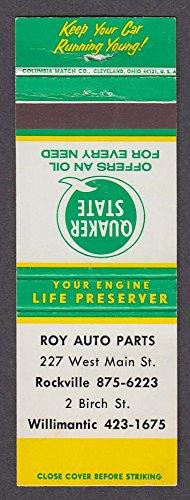 Part West (Quaker State Oil Roy Auto Parts 227 West Main St Rockville CT matchcover)