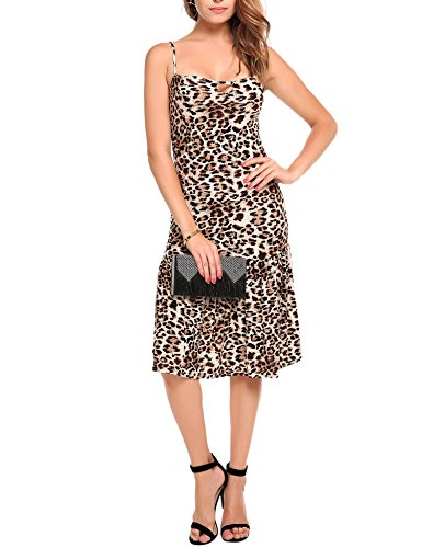 Angvns Womens Leopard Spaghetti Dresses