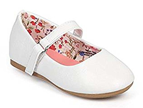 Girls Classic Flat (Girl Leatherette Round Toe Classic Mary Jane Flat (Toddler/Infant) DC39 - White (Size: Toddler 6))