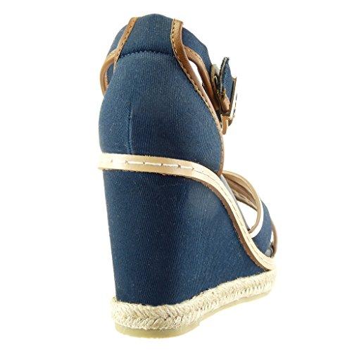Angkorly - Scarpe da Moda sandali Espadrillas bi-materiale zeppe donna finitura cuciture impunture Tacco zeppa piattaforma 10 CM - Blu