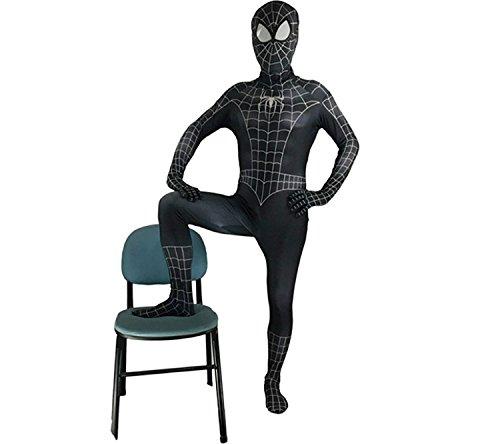Bodysuit Costume Spiderman (Halloween Black Spiderman Bodysuit Zentai Superhero Cosplay Funny Cosplay Costume (Child-Small(115-125),)