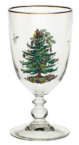 - Spode Christmas Tree 16-oz Single Pedestal Glass Goblet with Gold Trim