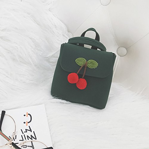 Leather Wildeal Pu Decoraion Backpack Cherry Shoulder Travel Cute Girl Bags Messenger Handbag Bag Casual Green Girls Korean IrpqxfwI
