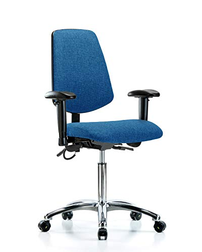 LabTech Seating LT41084 ESD Fabric Medium Bench Chair Medium Back Chrome Base, Arms, ESD Casters Blue
