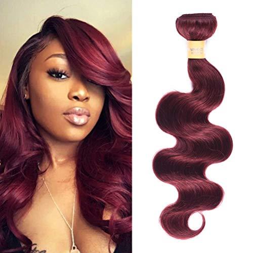 WOME Brazilian Human Hair Bundles 1 Bundle Burgundy Wine Red Body Wave Human Hair Wefts Extensions 8A Grade 100% Unprocessed Virgin Hair(14