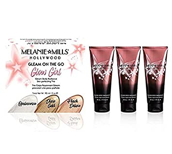 Melanie Mills Hollywood Glow Girl Kit Gleam Face and Body Radiance Moisturizing Body Makeup – Includes Opalescence, Peach Deluxe, Disco Gold, Mini 1 fl.oz. Each