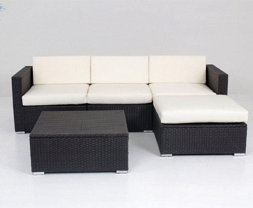 Modern Outdoor Patio Rattan Wicker 5 Pieces Sofa Set Sectional Furniture Set price