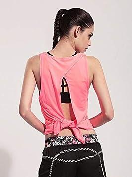 SGYHPL Mujeres Yoga Camisetas Deportes Color Sólido Tops Sin ...