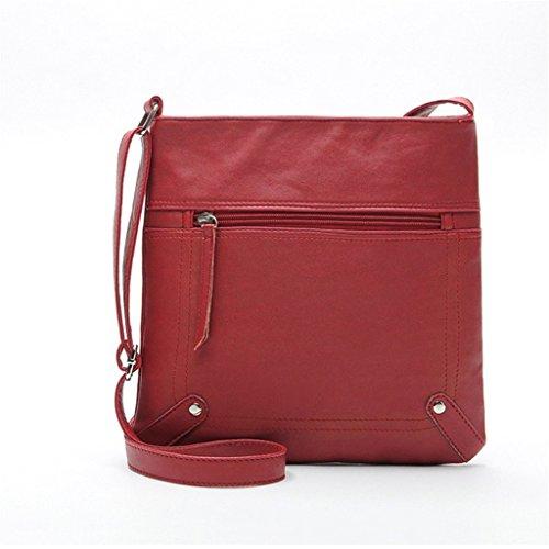Kolylong Fashion Womens Leather Satchel Cross Body Shoulder Messenger Bag Handbag (Brown) Red
