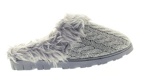 Foam Grey Indoor Cuff Knit Toe Fur Women's Clog Lined Outdoor Memory Gold Slipper Cable Irenka 6wzdHP