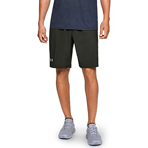 Under Armour Men's Launch 9'' Shorts, Artillery Green (357)/Reflective, Small by Under Armour (Image #1)