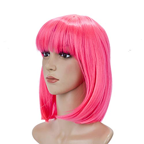 BeliHair Cosplay Pink Wigs for Women Costumes 12 inch Short Straight BOB Hot Pink Wig for Christmas Party Daily Wear (Pink Party Wig)