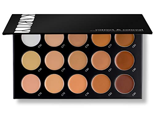15 Full Coverage Highly Pigmented Cream Based Professional Concealer Palette Face Makeup Kit Set Pro Palette High-end ()