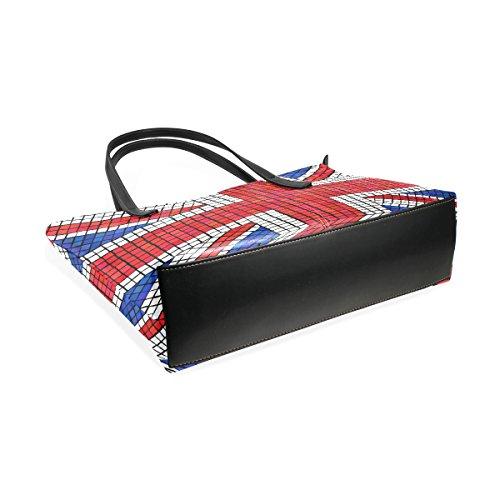 COOSUN UK Flagge Union Jack Mosaik PU Leder Schultertasche Handtasche und Handtaschen Tasche für Frauen