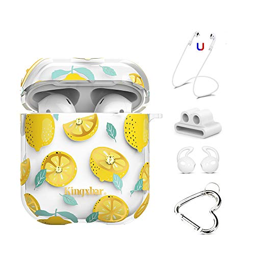 AirPods Case Cover 5 in 1 with Crystal from Swarovski for Apple AirPods 2 & 1, Clear Full Protective Hard Cute Cases for Girls Lemon Design with Keychain/Strap/Earhooks/Watch Band Holder - Nm Girl