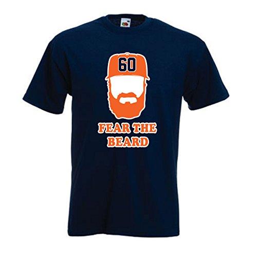 "Silo Shirts NAVY Dallas Keuchel Houston ""Fear the Beard"" T-Shirt ADULT"
