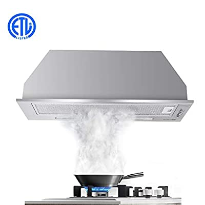 "Range Hood, Gasland Chef BI30SP 30"" Built-in Range Hoods, 30 Inch Stainless Steel Insert Range Hood Fan, 450 CFM 3 Speed Professional Quiet Motor, Premium Push Button, Aluminum Filter, 2 LED Lamp"